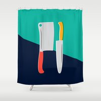 chef Shower Curtains featuring Chef Knives by Sam Osborne