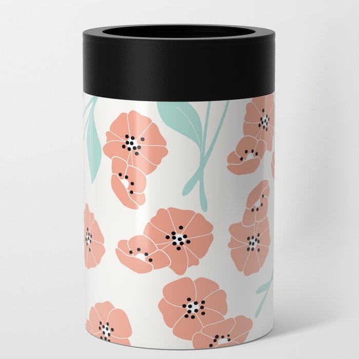 Retro flowers 001 Can Cooler