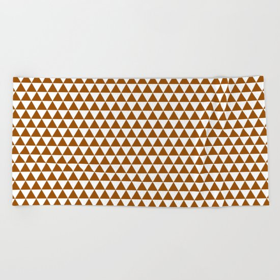 Triangles (Brown/White) Beach Towel