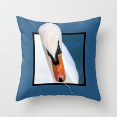 Swan with 3D pop out of frame effect Throw Pillow