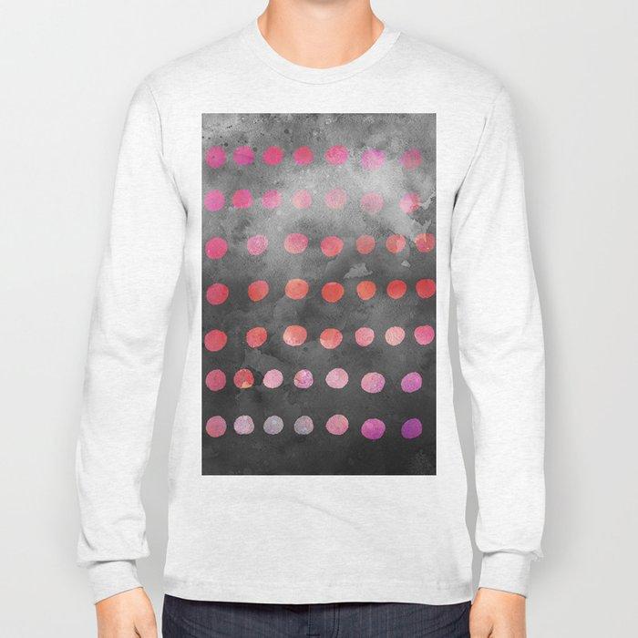 Watercolor Dot Pattern Pink Long Sleeve T-shirt