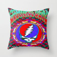 Grateful Dead #10 Optical Illusion Psychedelic Design Throw Pillow