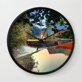 Nature, a river and colorful reflections   waterscape photography Wall Clock