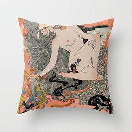 Warm Petals & Salty Shells Throw Pillow