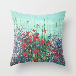 "Blommor"" Flowers in Bloom Original Print from Oil Painting/ Patented Design Throw Pillow"