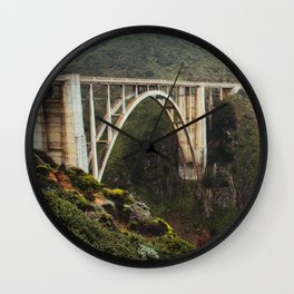 Bixby Bridge   Big Sur California Highway Ocean Coastal Travel Photography Wall Clock