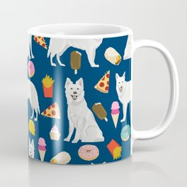 White Shepherd dog breed White German Shepherd junk food french fries donuts pet friendly pet art Coffee Mug