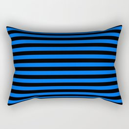 Across striped black and blue background Rectangular Pillow