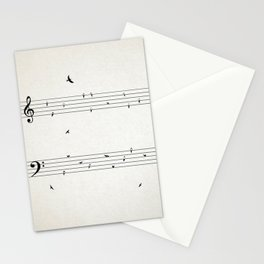 Music Score with Birds Stationery Cards
