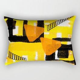 yellow orange white black abstract geometric digital painting Rectangular Pillow