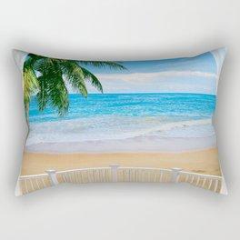 Balcony with a Beach Ocean View Rectangular Pillow