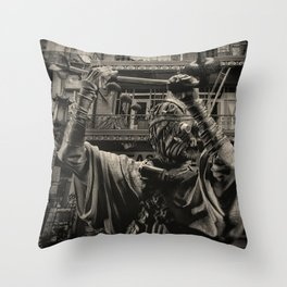 Clothed Man Patrols Back Alley Throw Pillow