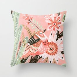 Little Pink Bird Throw Pillow