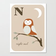 N is for Night Owl Canvas Print