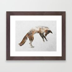 Jumping Fox Framed Art Print