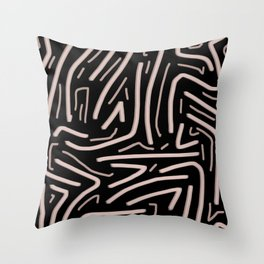 Pink abstract stripes with black background Throw Pillow