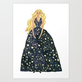 Princess of the starry night Art Print