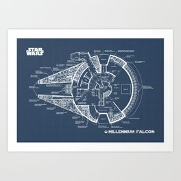 Millenium Falcon Blueprint Art Print