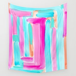 It's Your Life pastel color stripes modern art abstract painting lines pattern minimalist Wall Tapestry