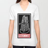 dr who V-neck T-shirts featuring EXTERMINATE  |  Dalek  |  Dr. Who by Silvio Ledbetter