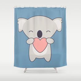 Kawaii Cute Koala With Heart Shower Curtain