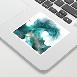 Wild Wave - alcohol ink painting, abstract wave, fluid art, teal, gold colored accents Sticker