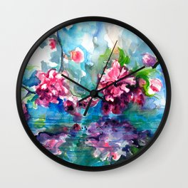 CHERRY TREE MIRRORING IN THE WATER - WATERCOLOR Wall Clock