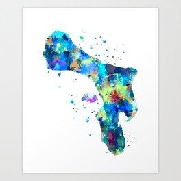 Bonaire Map Art Print