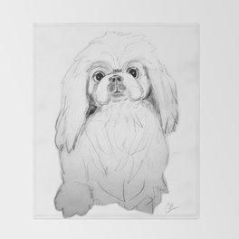 Cartoon Pekingese Dog Throw Blanket