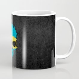 Flag of Bahamas on a Chaotic Splatter Skull Coffee Mug