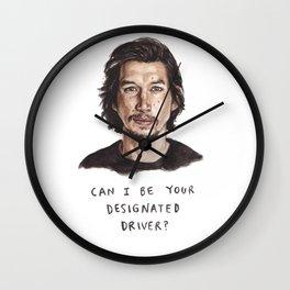 Designated Driver - Funny Adam Driver Illustration Wall Clock