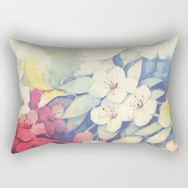 Spring flowers blue and red Rectangular Pillow