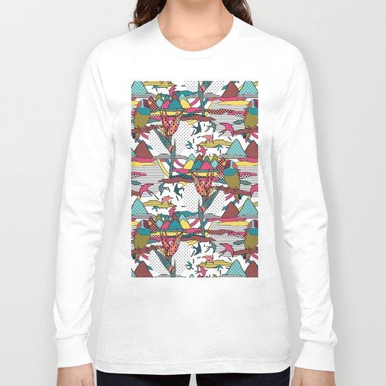 Pop art memphis 80's bird print Long Sleeve T-shirt