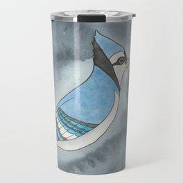 Blue Jay - Throat Chakra - Watercolor Painting Travel Mug