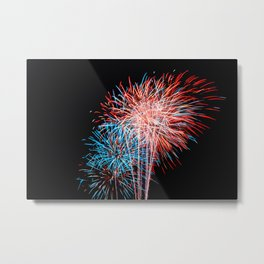 Red White and Blue Fireworks 4th of July Metal Print