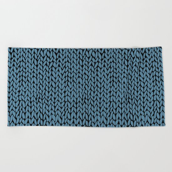 Hand Knit Niagra Blue Beach Towel