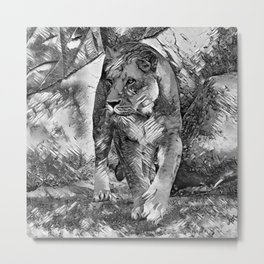 AnimalArtBW_Lion_20171202_by_JAMColorsSpecial Metal Print