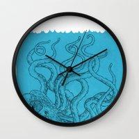 octopus Wall Clocks featuring Octopus by David Penela