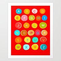 Red Alphabet Art Print