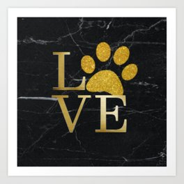 Love is a Four Letter Word - Black and Gold Art Print