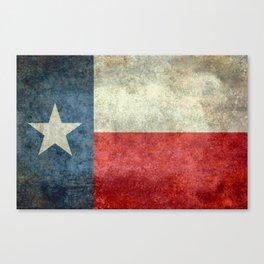 Texas flag, Retro distressed texture Canvas Print