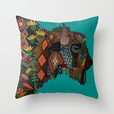 bison teal Throw Pillow