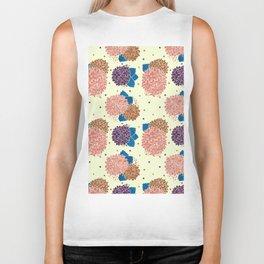 Watercolor coral brown blue hand painted floral polka dots Biker Tank