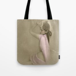 """""""Mattaharish"""" - The Playful Pinup - Vintage Weathered Pinup Girl by Maxwell H. Johnson Tote Bag"""