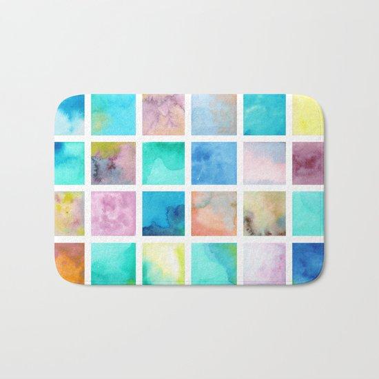 Watercolor pattern Squares . Bath Mat