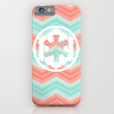 Imperial Cog and Tie Fighters over Chevrons in Coral and Turquoise  iPhone 6s Slim Case