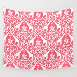 Giraffe Damask Coral Wall Tapestry