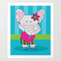 Cute, Colorful Illustration of Little Elephant Called Elsa Art Print