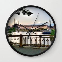 Pittsburgh Baseball Night Riverview Print Wall Clock