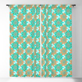 Living Coral and Turquoise Blue Doodle Art Flowers Blackout Curtain